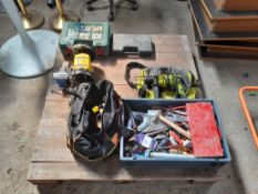 Pallet to include Bosch Multi Sander, Guild Drill , qty of hand tools, etc