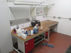 2 x Workshop Benches with Back & Plates and strip lights