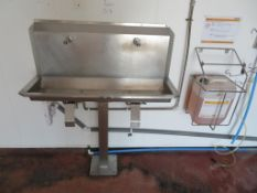 Knee operated twin tap sink, 3 x detergent cages and 2 x dosing units