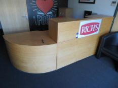 Oak finish Reception Desk etc