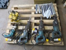Pallet to contain 3 x Makita Reciprocating Saws, Makita Drill, Portable Transformer etc