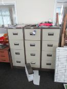 5 x four Drawer Metal Filing Cabinets Please Note Buyer to Remove