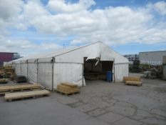 Temporary Steel Framed Tarpaulin Tent Approx Dims; 60' x 30' x 12'. PLEASE NOTE This lot is to be co