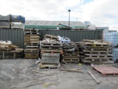 Qty of various Wood Stock next to Container Please Note Buyer to Remove