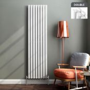 3 BRAND NEW BOXED 1800x480mm Gloss White Double Oval Tube Vertical Radiator.RRP £499.99.Made from