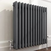 5 BRAND NEW BOXED 600x600mm Anthracite Double Panel Horizontal Colosseum Traditional Radiator.RRP £
