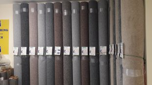 11 x Rolls of Oasis Carpet Comprising of 4 x Silver (3 x 2.9 x 4m & 1 x 2.9 x 5m) 2 x Dark Taupe 2.9