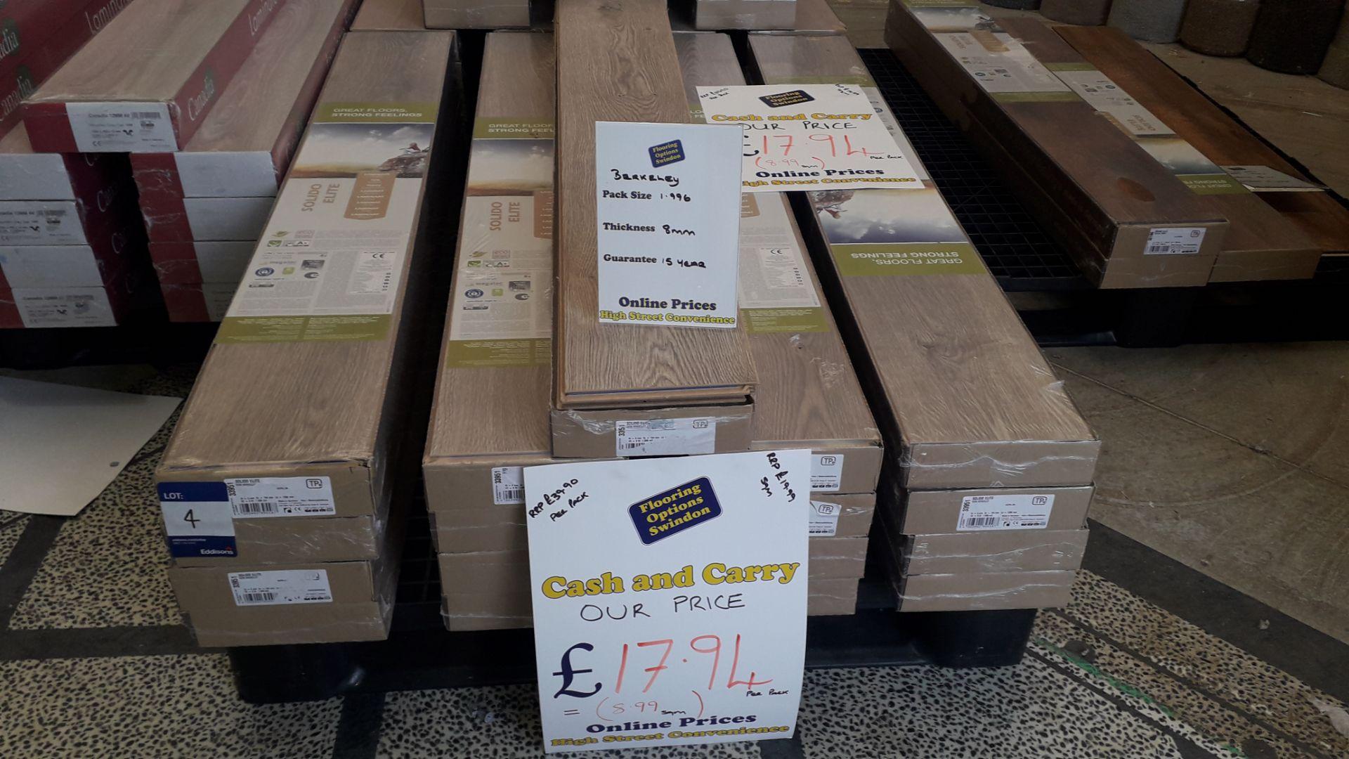 Lot 4 - 17 Packs of Solid Elite 8mm Berkeley Laminate Flooring 2m² Per Pack – RP £17 per pack