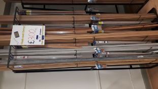 Stock Rack and Contents containing Various Scotia Profile Bars, Quick Step, Ramp Profile, Flat