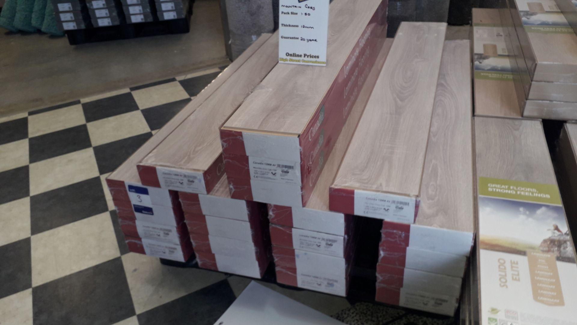 Lot 3 - 21 Packs of Canadia 12mm 4v Mountain Grey Oak Laminate Flooring – 1.4950m2 Per Pack