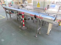 Mobile Lazy Susan (dia 1.25m), Stainless Steel Bench with Pneumatic Press and 2 x Belt Conveyors (3.