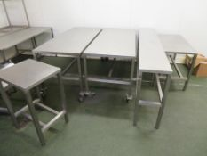 10 various Stainless Steel Tables (the Largest 1800 x 750mm) and an Aluminium Stand
