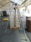 Lifting equipment inc tripod chain hoist, 3 x forklift attachments & machine skates.