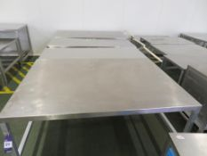 8 x Stainless Steel Topped Aluminium based Tables (the largest 1700 x 1200mm) and an open fronted ca