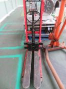 Engine Hoist, Selco 1000KG Lift Mate Pedestrian Pallet Lifter and a 3 x Barrel Trolleys