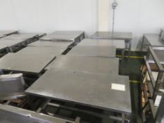 10 x Low Level Stainless Steel Tables, some with Aluminium Bases (the largest 1200 x 750mm)