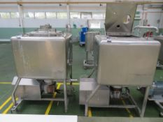 2 x Fat Mixing Tanks with Motor Driven Bottom Blade (900 x 900 x 900 mm deep)