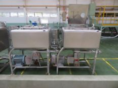 2 x Fat Mixing Tanks with Motor Driven Bottom Blade (1000 x 1000 x c700 mm deep)