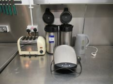 Dualit 4 Slice Toaster with Kettle and 2 Commercial Thermos Flasks and George Forman Grill
