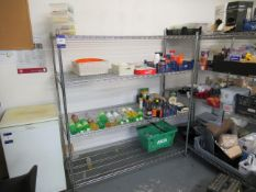 3 Various 4 Tier Wire Type Kitchen Shelving and Contents