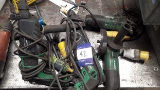 "2 x Hitachi DH26P Rotary Hammer (110v) and 1 x Hitachi 4"" Grinder 110v"