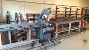Saws UK E300RH Power Hacksaw Serial number C011595081 (2015) with Roller Feeder and Take Off Table