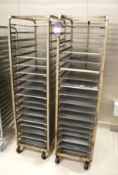 2 x Mobile Baking Racks 18 Grid with Trays
