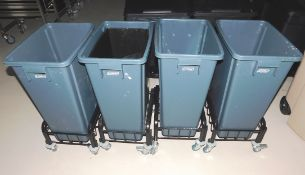 4 x Plastic Bins with Wheels