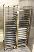 2 x Mobile Baking Racks 18 Grid with Trays(Tray size 600x400mm)