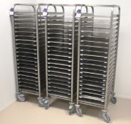 3 x Mobile Baking Racks with Trays 20 Grid