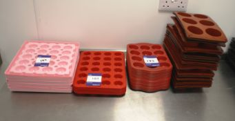 Approx. 47 Red Silica Moulds and Pink Plastic Tray