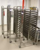 3 x Mobile Twin Rack Bakers Trolley