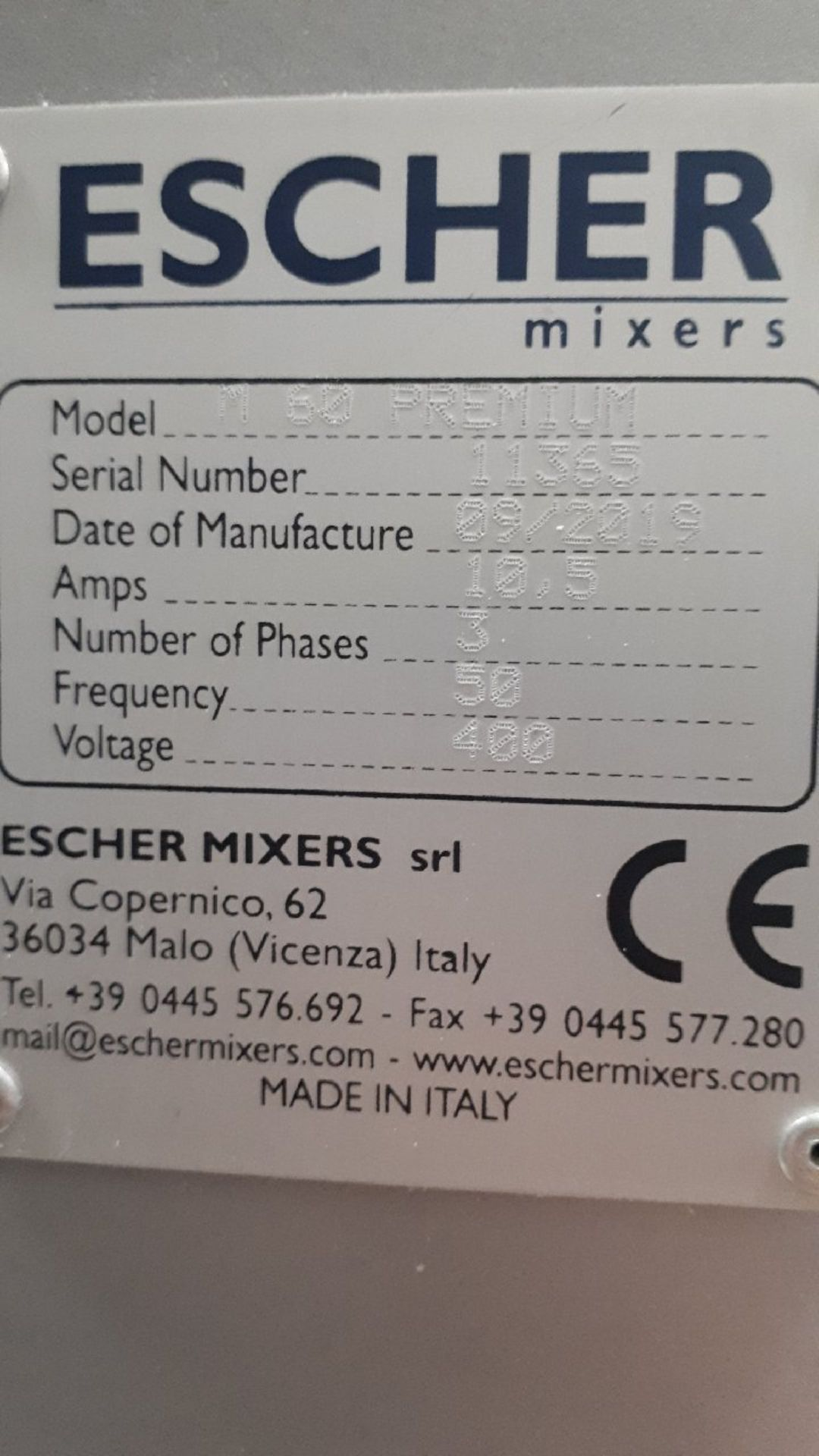Lot 15 - Escher Model M60 Premium Spiral Mixer Serial Numbe