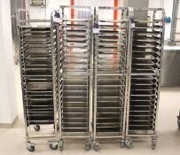 4 x Mobile Baking Rack with Trays