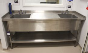 Stainless Steel Twin Deep Well Sink Unit 2100 x 70