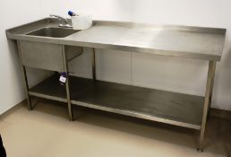 Stainless Steel Bench with Deep Well Sink 2100 x 7