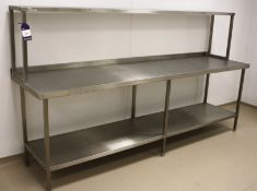 Stainless Steel Two Tier Bench with Gantry 2700 x