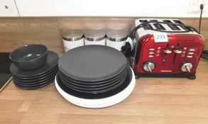 Morphy Richards Toaster and Crockery
