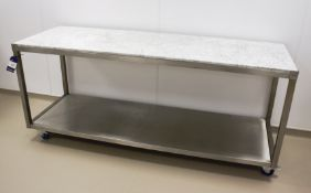Stainless Steel Bench with Granite Top 2100 x 700