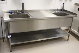 Stainless Steel Twin Deep Well Sink 2100 x 700 (re