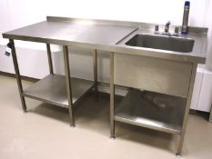 Stainless Steel Bench with Deep Well Sink 1800 x 7
