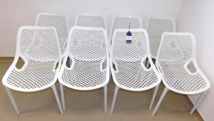 8 x White Plastic Dining Chairs
