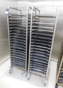 2 x Mobile Baking Racks 20 Grid with Trays