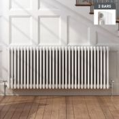 (ED15) 600x1410mm White Double Panel Horizontal Colosseum Traditional Radiator. RRP £552.99. Made