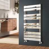(ED13) 1200x500mm Flat Panel Towel Rail Chrome Radiator. Contemporary style, Low Carbon Steel