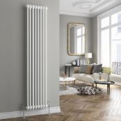 ED7) 2000x306mm White Triple Panel Vertical Colosseum Traditional Radiator. RRP £408.99.Made from