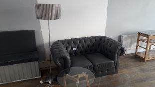 Grey Faux Leather 2 Seater Chesterfield effect sof