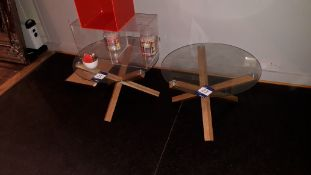 2 x glass topped 60cm dining tables with wooden cr