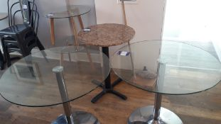 8 x Various Round tables including glass topped an