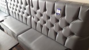 4 x Grey fuax leather buttoned dining booth bench